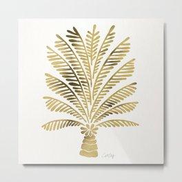 Palm Tree – Gold Palette Metal Print