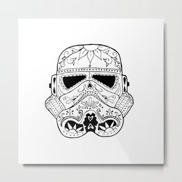 Day of the Death Star Stormtrooper Black and White Metal Print