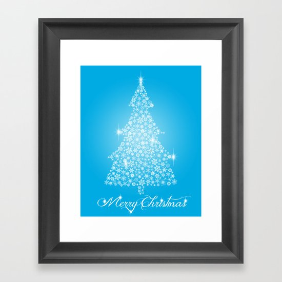 Snowflake Christmas tree Framed Art Print
