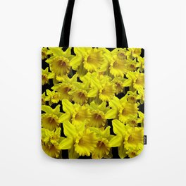 YELLOW SPRING KING ALFRED DAFFODILS ON BLACK Tote Bag