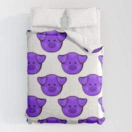 Cute Purple Pigs Comforters