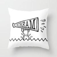 scream Throw Pillows featuring SCREAM by Andrea Vietti