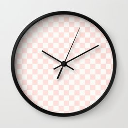 Pink Coral Checkers Wall Clock