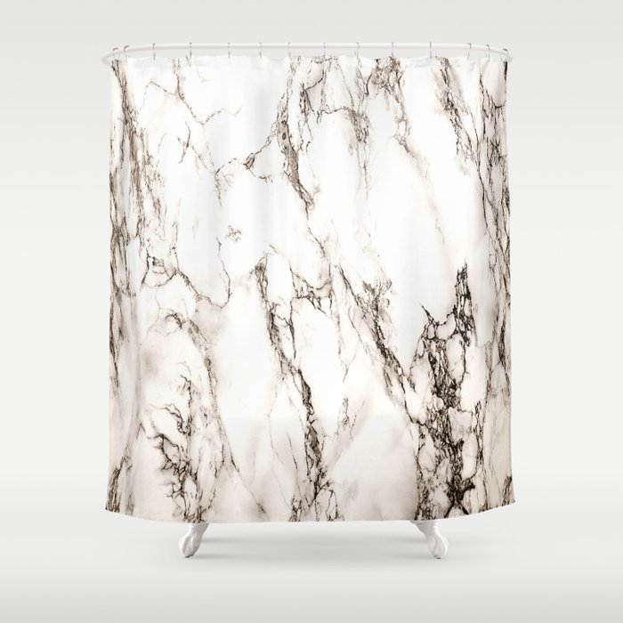Brown Veined Marble Shower Curtain