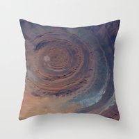 nasa Throw Pillows featuring eye in the sky, eye in the desert (nasa #01) by _mackinac