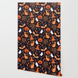 Halloween party illustrations orange, black Wallpaper