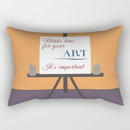 Make Time For Art (Colorful Calligraphy) Rectangular Pillow