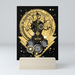 Retro geometric music themed design with guitar tree Mini Art Print