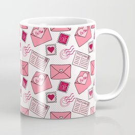 Snail mail love letter pattern in pink Coffee Mug