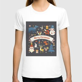Christmas symbols pattern T-shirt