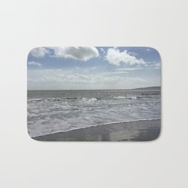 Sandbanks Beach with Waves and Blue Skies Bath Mat