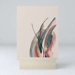 Slow Burn: a pretty, minimal, abstract mixed media piece using watercolor and ink Mini Art Print