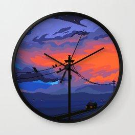 Orange Skies Wall Clock