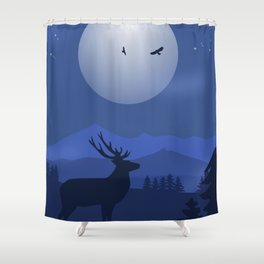 Mystical Night in the Mountains Shower Curtain
