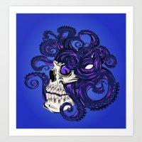 Purple Octopus in Skull Art Print