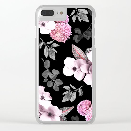 Night bloom - pink blush Clear iPhone Case