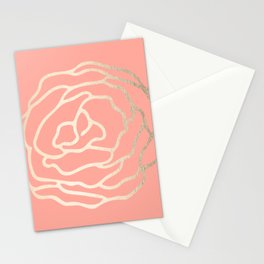 Flower in White Gold Sands on Salmon Pink Stationery Cards
