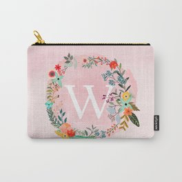 Flower Wreath with Personalized Monogram Initial Letter W on Pink Watercolor Paper Texture Artwork Carry-All Pouch