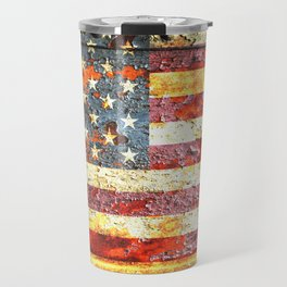 American Flag On Rusted Riveted Metal Door Travel Mug