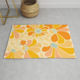 Sunny Flowers / Floral Illustration Rug