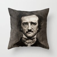 edgar allan poe Throw Pillows featuring EDGAR ALLAN POE by Jason Seiler