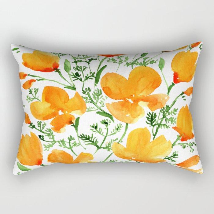 Watercolor California poppies Rectangular Pillow
