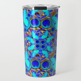 Abstract Decorative Aqua Blue Butterflies On Charcoal Grey Art Travel Mug