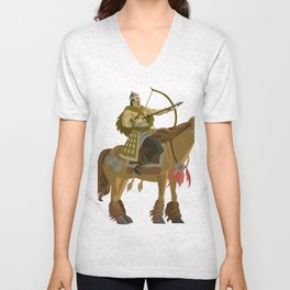 mongolian rider archer with bow and arrow calvary Unisex V-Neck