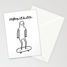 EVERYTHING WILL BE OKAY - positive mantra illustration Stationery Cards