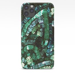 Forest Green Teal Sequin Design iPhone Case