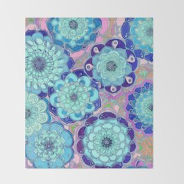 Radiant Cyan & Purple Stained Glass Floral Mandalas Throw Blanket