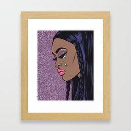 Crying Black Sad Comic Girl Framed Art Print