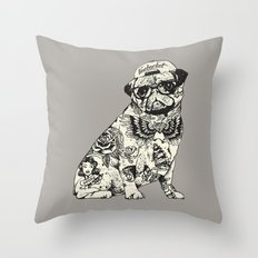 Pug Tattoo Throw Pillow