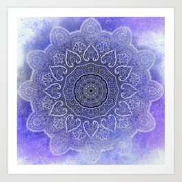 purple mandala of hearts Art Print