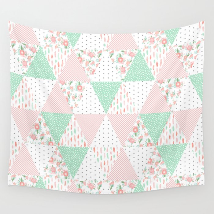 Mint and coral Seafoam Green Pastel Mint Coral Pink Floral Quilt Triangle Pattern Basic Minimal Charlotte Winter Prints Wall Tapestry Society6 Pastel Mint Coral Pink Floral Quilt Triangle Pattern Basic Minimal