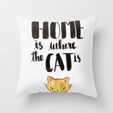 HOME is where the CAT is - yellow tabby Throw Pillow