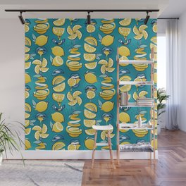 Pop art citrus addiction // teal background blue lips yellow lemons and citrus fruits Wall Mural
