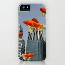 Singapur Skyline with Goldfishes iPhone Case