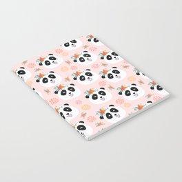 Panda bear with flowers seamless pattern Notebook