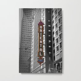 Oriental Theatre Black and White Chicago Photography Metal Print