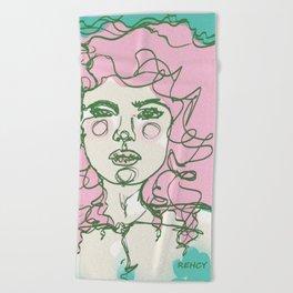 Pink Mermaid Curls Beach Towel
