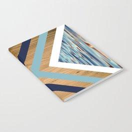 Wood Water Waves Geometric Hipster Triangels Notebook