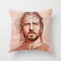 eddie vedder Throw Pillows featuring Eddie Vedder by Renato Cunha