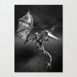Dragon Rider BW Canvas Print