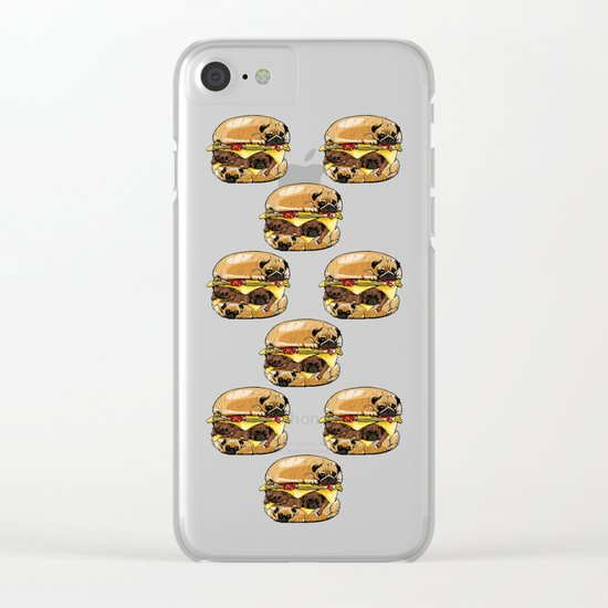 Pugs Burger Clear iPhone Case