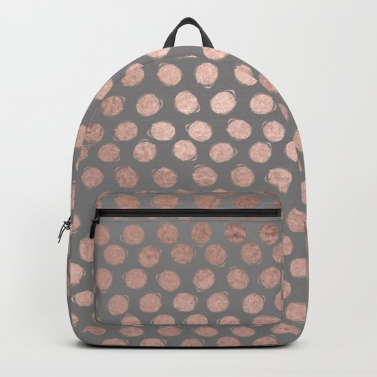 Handpainted Rosegold polkadots on grey background Backpack