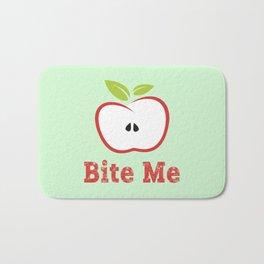 Red Apple Illustration - Bite Me Typography Bath Mat