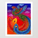 Colorful Fenghuang Chinese Phoenix Rainbow Bird by psychedeliczen