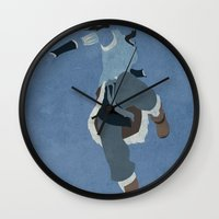 aang Wall Clocks featuring Korra by JHTY