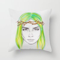 caleb troy Throw Pillows featuring Helen of Troy by L.B.